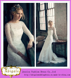 New Elegant Charming Tulle White Appliques Beaded Scoop Sweep Train Long Sleeve Lace Wedding Dresses Yj0023