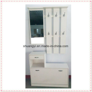 White Modern Design Coat Hanger and Shoe Storage Cabinet pictures & photos
