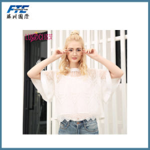 2017 New Loose Slim Short Sleeve Women Lace T-Shirt pictures & photos