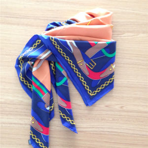 Printed Silk Twill Square Scarf in Chain Pattern pictures & photos