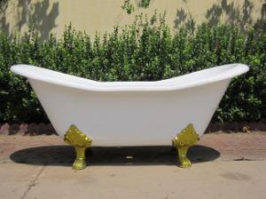 Anique Freestanding Double Slipper Enamel Cast Iron Bathtub Sw-1005A