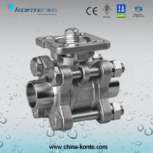 Butt Welded 3PC Ball Valve ISO Mounting Pad Without Handle pictures & photos