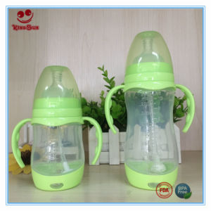 Automatic Straw Wide Neck PP Baby Feeding Bottles with Handles 300ml pictures & photos