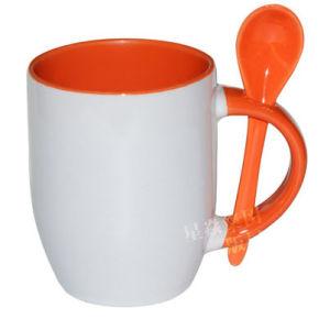 Orange Ceramic Photo Mug with Spoon pictures & photos