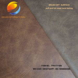 Artificial Leather for PU Shoe Upper with Brush off Pattern Fpa17y16n pictures & photos