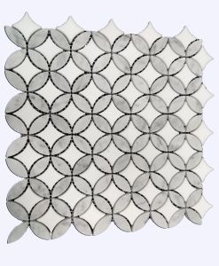 China Supplier Carrara White Marble Gray Sunflower Mosaic Tiles pictures & photos