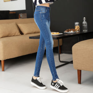 2017 Hot Sale Women′s Clothing Elastic Comfortable Tide Splicing Skinny Jeans pictures & photos