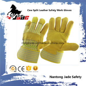 Cowhide Grain Industrial Safety Patched Palm Work Leather Glove pictures & photos