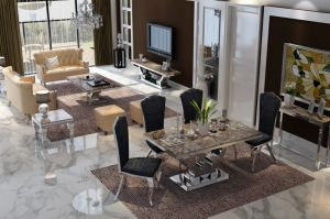 China Black Granite Dining Table for Sale China Dining Table