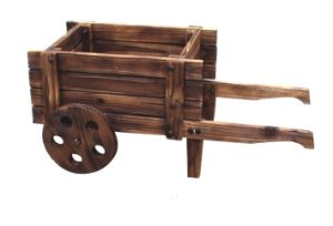Wooden Wheelbarrow Country Cart Plant Stand Yard Garden Planter pictures & photos