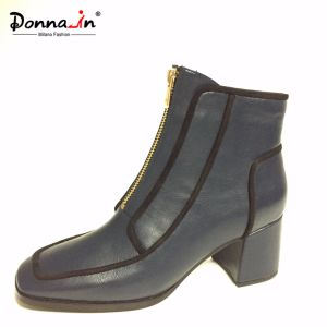 Women Casual Patchwork Square Toe High Heels Lady Zipper Footwear pictures & photos