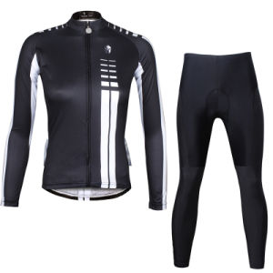 Women′s Breathable Long Sleeve Cycling Clothing Black pictures & photos