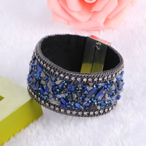 Fashion Rhinestones Crystal Magnetic Natural Stone Bangle Leather Bracelet Jewelry pictures & photos