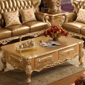 Leather Sofa with Table for Home Furniture (D508A) pictures & photos