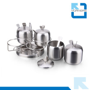 Rotary 4 Pieces Stainless Steel Spice Container and Salt & Black Pepper Jar with Stable Rack pictures & photos