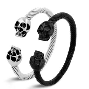 316L Steel Fashion Bijoux Cable Wire Cuff Skull Bangle Bracelet pictures & photos