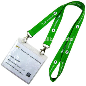 Custom Double Clip Woven Lanyard with PVC ID Card Holder pictures & photos