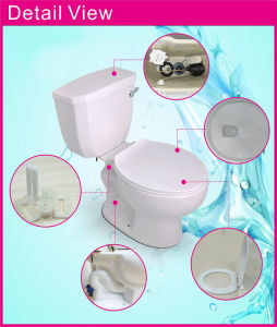 Porcelain Gravity Flushing Dual Flushing Self Cleaning Light Blue Two Piece Toilet pictures & photos