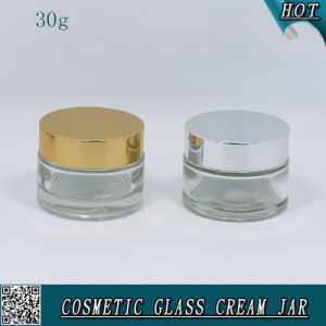 30ml Clear Glass Cylinder Shape Cream Jar with Aluminum Lids pictures & photos