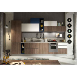 Modern Dark Wood Grain and White Matte Lacquer Kitchen Cabinets pictures & photos