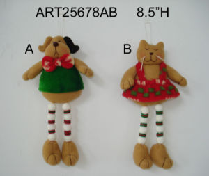 Button Legged Fleece Cat and Dog Decoration, 2 Asst pictures & photos