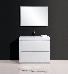 Modern White Bathroom Cabinet with Mirror and Basin