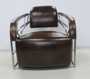 Vintage Brushed Stainless Steel Tube Armrest Leather Chair pictures & photos