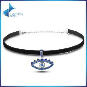 925 Sterling Silver & Black Braid Blue Crystal Evil Eye Necklace Choker pictures & photos