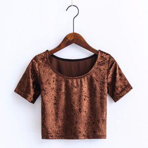 Fashion Women Slim Velvet Crop Top T-Shirt Clothes Blouse pictures & photos