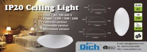 24W IP20 Microwave Ceiling Light with Motion Sensor pictures & photos