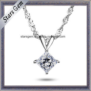 18k White Gold 1 Carat Square Moissanite Pendant Jewelry pictures & photos