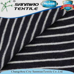 Indigo 100% Cotton Striped Jersey Knitting Knitted Denim Fabric for T-Shirt pictures & photos