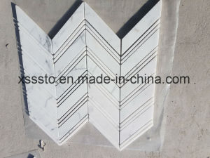 Statuario Marble Chevron Mosaic Pattern Interior & Exterior Wall Floor Tile pictures & photos
