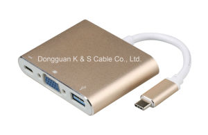 USB3.1 Type C to USB 3.0 + VGA + Type C Adapter pictures & photos