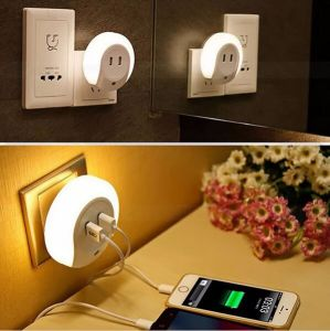 Dual USB Charger Socket LED Night Light Small Sensor Light pictures & photos