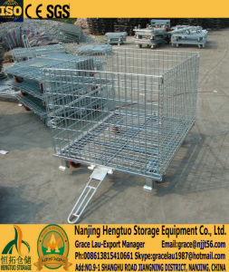 Roller Galvanized Steel Folding Warehouse Storage Cage, Wire Container, Mesh Storage Container Cages with Traction pictures & photos