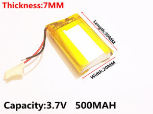 Polymer Lithium Battery 3.7 V, 702030 500mAh Can Be Customizedce FCC RoHS MSDS Quality Certification pictures & photos
