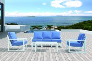 Modern Lounge Garden Patio Outdoor Aluminum Home Office Blue Cushion Sofa (J599-KD) pictures & photos