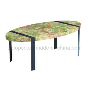 Oval Artificial Marble Table with Metal Base (SP-GT431) pictures & photos