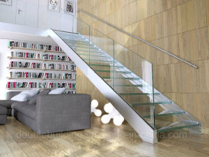 Integrated U Shape Glass Staircase with Stainless Steel Stringer Antislip Glass Tread pictures & photos