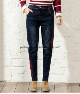 National Wind Embroidered Jeans Female Loose Casual Retro Trousers pictures & photos