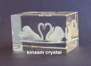 3D Laser Engraving Crystal Swan Cube for Crystal Craft Decoration pictures & photos