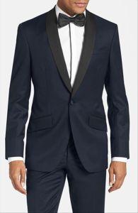 OEM Wholesale Fashion Trim Fit Navy Shawl Lapel Men′s Tuxedo pictures & photos