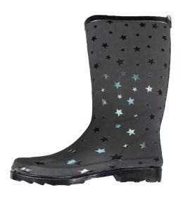 Ladies Fashion Printed Foaming Starry Style Rubber Rain Boots pictures & photos