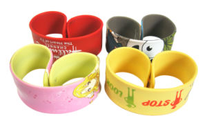 China Promotional Colorful Logo Printed Silicone Slap Bands for Children Gift pictures & photos