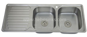 Stainless Steel Drain Board Sink, Drop in Sink, Stainless Steel Top Mount Equal Double Bowl Kitchen Sink with Drain Board pictures & photos