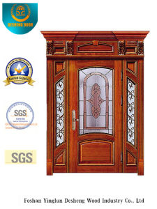 European Style Security Door with Caving and Glass and Iron (B-9010) pictures & photos