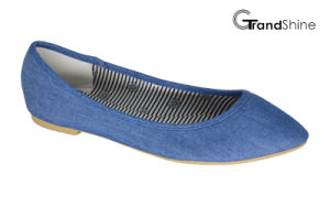 Women′s Denim Fabric Flat Pointed Toe Ballet Shoes
