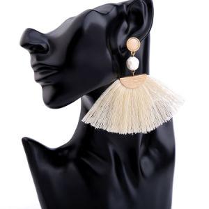Hot-Sale Art Retro Alloy Fan Shaped Tassel Earrings for Women pictures & photos