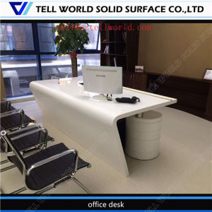 Luxury 2 Seat Italian Acrylic High Gloss Marble Top Semi Circle Unique Curved Modern Office Desk pictures & photos